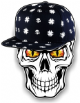 GOTHIC Hip Hop SKULL With RED & YELLOW Evil Eyes and Rapper Cap Motif External Vinyl Car Sticker 100x78mm